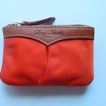 Dooney & Bourke Small Coin Case-Nylon Clementine Orange  -Attached Key Ring- Photo