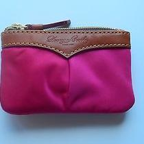 Dooney & Bourke Small Coin Case-Nylon Hot Pink  -Attached Key Ring-Leather Trim Photo
