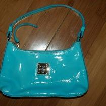 Dooney & Bourke Small East/west Bitsy Bag Teal/aqua Patent Leather Purse Db Htf Photo