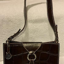 Dooney & Bourke Small Ring Flap Embossed Croc Italian Leather Handbag Brown Feet Photo