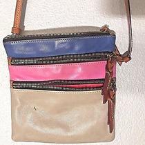 Dooney & Bourke Taupe Pink Blue Leather Color Block Shoulder Crossbody Purse Photo