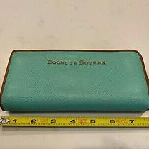Dooney Bourke Teal Pebbled Leather Wallet With Hot Pink Interior-Rare Photo