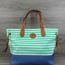 Dooney & Bourke Tote Large Striped Sullivan Shopper Handbag (Seafoam Blue) Photo