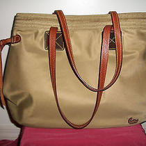 Dooney & Bourke Tote Shoulder Bag Tan Nylon Body & Leather Dual Handles   Photo