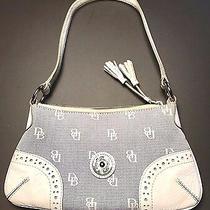 Dooney & Bourke White & Blue Canvas Leather Tassel Logo Slim Hobo Purse Handbag Photo