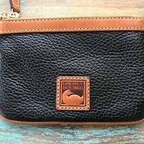 Dooney Bourke Wristlet Black Pebble Leather Brown Trim New Photo
