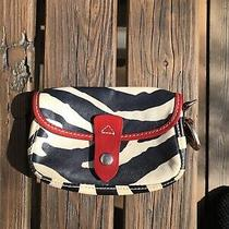 Dooney & Bourke Zebra Safari Pouch Clutch Euc Red Trim Textured Leather Photo