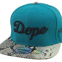 Dope Vintage 3d Embroidery Flat Bill Snapback Hip Hop Cap Aqua/black Snake Skin Photo