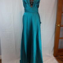 Dorian Ho Designer Aqua Turquiose Silk Gown Strapless Prom Dress Womens Size 10 Photo