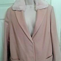Dorothy Perkins Blush Pink Coat With Detachable Faux Fur Collar Size 14 Pre Love Photo