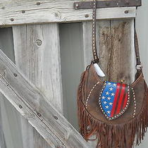 Double J Painted Flag Hobo Purse With Beading Made in Usa Nwt Photo