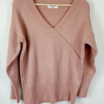 Double Zero Sweater Top v Neck Long Sleeve Spicy Blush Pink Womens Small Photo