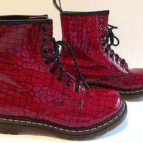 Dr. Martens Women's 1460 W 8 Eyelet Red Patent Croc Boots Size 10 Photo