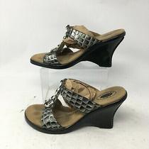 Dr Scholls Avalon Rings Croc Print Slide Wedge Sandal Womens 9.5m Gray Leather Photo