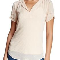 Dr2 Womens Blouse Blush Pink Small S Clip Dot Split-Neck Pleated Sleeve 68 915 Photo