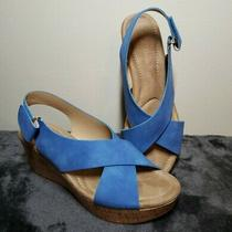Dream Wedges  Cl Chinese Laundry Womens 8.5 M Blue Wedge Sandals Barely Worn Photo