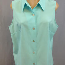 Dress Barn Button Down Sleeveless Fitted Shirt Light Aqua Blue Size Xl Photo