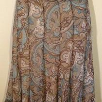 Dress Barn Size 14 Pleated Lightweight Brown / Aqua / Cream Paisley Skirt Casual Photo