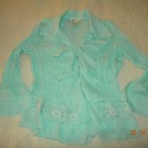 Dress Barn Teal Shirt Blouse W Lace Trim Photo