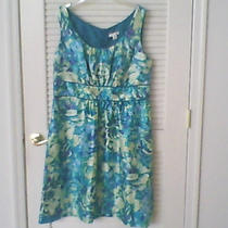 Dress Barn Woman Sleeveless Aqua Blue Watercolor Print U-Neck Dress 14w Photo