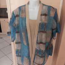 Dress Barn Women'stan and Aqua Blouse/jacket W/ Attached Tank  Pl Sz 22/24 Photo