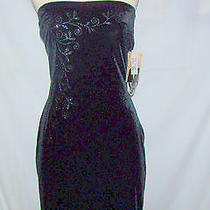 Dress Black Jessica Mcclintock Party Sz 7 Strapless Prom Wedding Formal Short  Photo