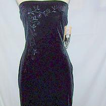 Dress Black Jessica Mcclintock Party Sz 7 Strapless Prom Wedding Formal Short  Photo