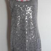 Dress by Express Silver Sequin Mini Women's Size Medium Photo