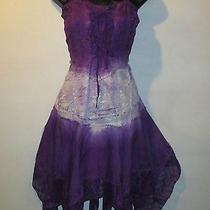 Dress Fits M L Xl Sexy Purple Corset Lace Up Sundress  Fantasy Hanky Hem 400 Photo
