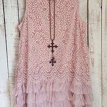 Dress Lace Blush Vintage Inspired Long Tunic Sleeveless Ruffle - Xl Photo