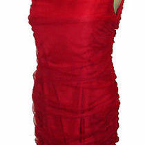 Dress Sachin  Babi for Ankasa Shirred-Mesh-Overlay Lined Red Silk Nwot 8 Photo
