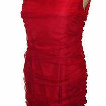 Dress Sachin  Babi for Ankasa Shirred-Mesh-Overlay Lined Red Silk Nwot 8 Photo