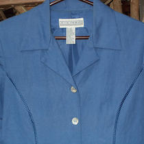 Dress Womens Jessica Howard Blue Linen 12 Lined Mother of Pearl Buttons Photo