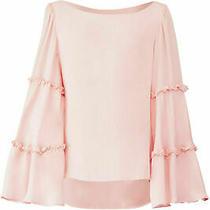 Drew Women's Blouse Blush Pink Size Small S Flare-Sleeve Ruffle Silk 253- 154 Photo