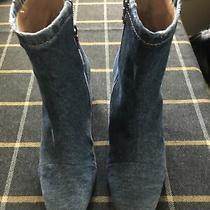 Dries Van Noten Boots Blue Denim Block Heel Ankle Sz 38.5. Heel Is 3. Euc. Photo