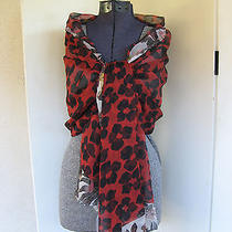 Dries Van Noten  Farima Ss 2014 Red & Black Silk Floral Print Large Scarf Nwt Photo