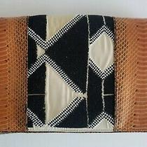 Dries Van Noten Snake Skin Clutch Purse  With Geometric  Beaded Pattern  Photo