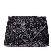 Dries Van Noten Womens Crushed Velvet Envelope Clutch Handbag Purple Photo