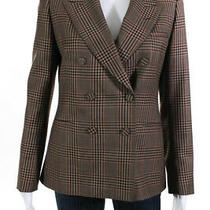 Dries Van Noten Womens Double Breasted Plaid Blazer Red Brown Wool Size Eu 40 Photo