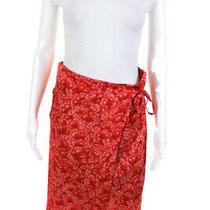 Dries Van Noten Womens Metallic Chiffon Layered Wrap Skirt Red Silk Size Eu 38 Photo