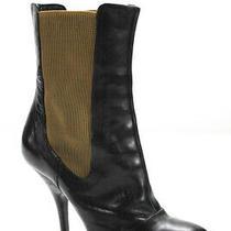 Dries Van Noten Womens Round Toe Pull on Platform Boots Black Leather Eu Size 40 Photo