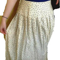 Drop Waist Pleated Skirt Sz 8  Light Yellow Floral Vintage Talbots 1980's   Photo