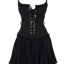 Dsquared 100% Silk Black Pleated Spaghetti Strap Corset Dress Us S Eu 40 Photo