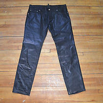 Dsquared Amazing Runway Classic Clean Smooth Black Leather Pants 50 34 Slim Fit Photo