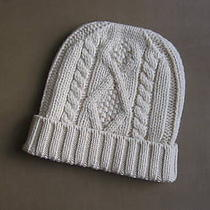 Dsquared Beige Cable Knit Wool & Cashmere Ski Hat M Photo