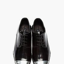 Dsquared Dsqaured2 Black Silver Cap Toe Derby Leather Dress Shoes Mens 42.5 9.5 Photo