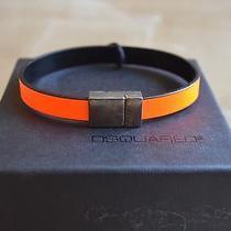 Dsquared Flourescent Orange Black Leather Magnetic Snap Bracelet Cuff S Uni  Photo
