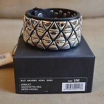 Dsquared Rare Runway Black Leather Silver Studded Armlet Cuff Bracelet One Size Photo