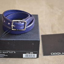 Dsquared Rare Violet Leather Double Wristband Cuff Bracelet & Buckle Clousure U Photo
