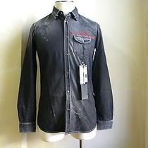 Dsquared Runway Hockey Black Wash Raw Distressed Denim Shirt S 48 Amazing Photo